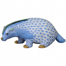 Herend Porcelain Fishnet Figurine of a Badger